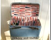 Recovered Vintage Train Case - Red & Blue
