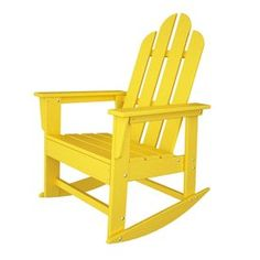 Polywood Long Island Lemon Recycled Plastic Rocking Casual Adirondack Chair…