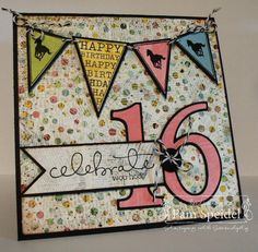 Custom Made Celebrate 16th Birthday Card with Horse Banner