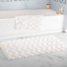 Somerset Home 100 Percent Cotton 2-Piece Chevron Bathroom Mat Set, Beige