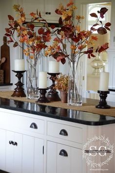 Rustic Fall Tabletop or Kitchen Island Vignette ~ How pretty this looks! I would never have thought to just put the leaf stalks in a clear glass vase.