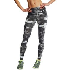 Women's Champion Marathon Printed Running Tights (49 CAD) ❤ liked on Polyvore featuring activewear, activewear pants, white, champion activewear and champion sportswear