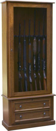 """8 Gun Cabinet by American Furniture Classics. $280.86. From the Manufacturer                This classic 8 gun cabinet features ample space for most 52"""" scoped rifles and double barrel shotguns.  The felt lined barrel rest and butt plate protect your valuables along with the tempered glass in the door.  This fully locking cabinet features storage behind the drop front door  service at American furniture classics.                                    Product Description            ..."""