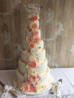Vintage edible roses peach and pink tall giant wedding cake