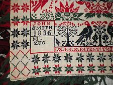 Antique 1836 Jacquard Signed Coverlet by John Smith for M. ZUG Pennsylvania