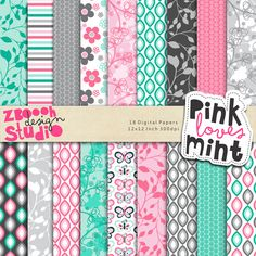 My Sweet Love - lovely set of 18 digital papers in stylish color combination with lovely romantic floral designs, this set can be used as embellishments for invitations, cards, stationery, scrapbooking etc.