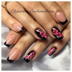The advantage of the gel is that it allows you to enjoy your French manicure for a long time. There are four different ways to make a French manicure on gel nails. Flower Nail Designs, Flower Nail Art, Nail Art Designs, Nails With Flower Design, French Nails, Hot Nails, Hair And Nails, Super Nails, Nagel Gel