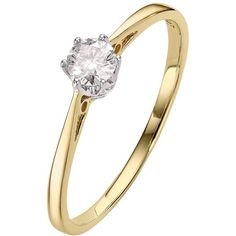 Love Diamond 9 Carat Yellow Gold 25Pt Certified Diamond Solitaire Ring ($730) ❤ liked on Polyvore featuring jewelry, rings, band engagement rings, yellow gold engagement rings, band rings, yellow gold rings and solitaire ring