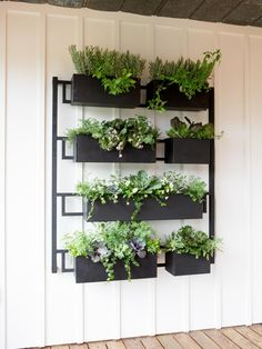 garden wall planters metal fixer upper the colossal hanging wall outdoor wall planter metal Garden Wall Planter, Balcony Garden, Planter Boxes, Herb Garden, Garden Wall Art, Garden Sheds, Herb Wall, Metal Planters, Outdoor Wall Planters