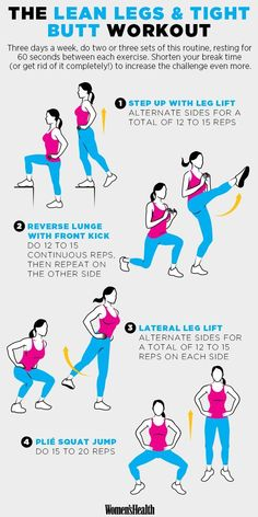 Moves for Lean Legs and a Tight Butt Get step-by-step instructions for this lower-body workout.Get step-by-step instructions for this lower-body workout. Sport Fitness, Health Fitness, Women's Health, Fitness Diet, Workout Fitness, King Fitness, Health Tips, Fitness Women, Fat Workout