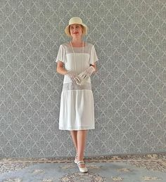 Off white Downton Abbey dress with flutter sleeves