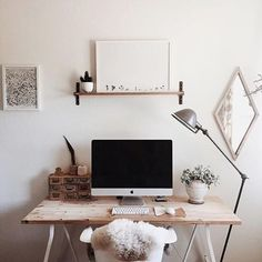 Workspace perfection + regram from @kelli_murray in the US ✨✨ This workspace belongs to illustator + designer Kelli in California✌️✌✌ We love the simplicity of her workspace...one raw wood desk, one teeny tiny shelf + one beautiful @maxwangerprintshop print  Thanks Kelli for inspiring us with your simple + beautiful #workspacegoals