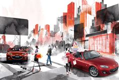 Mazda #illustration #mazda #artwork #advetorial #collage #digital_illustration #digital_painting