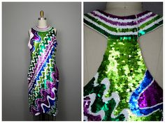 VTG Retro Sequin Sleeveless Dress // Bright Green Purple Blue Fully Embellished Sequined Trophy Dress by Adrienne Vittadini by braxae on Etsy