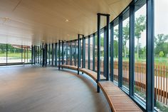 SoundPly Acoustic Ceiling Panels were used to create a natural, peaceful respite for travelers at the Goose Creek Rest Area in Harris, MN. #transportation #infrastructure #SoundPly Acoustic Ceiling Panels, Acoustic Baffles, Goose Creek, Rest Area, Monterey Bay Aquarium, Downers Grove, Hudson Yards, Mall Of America, Showcase Design