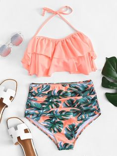 Shop Ruffle Top With Palm Print High Waist Bikini online. SHEIN offers Ruffle Top With Palm Print High Waist Bikini & more to fit your fashionable needs. Bathing Suits For Teens, Summer Bathing Suits, Swimsuits For Teens, Bathing Suits One Piece, Modest Swimsuits, Cute Bathing Suits, Cute Swimsuits, Vintage Swimsuits, Womens High Waisted Bikini