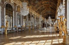 Palais de Versailles Galerie des Glaces.  At 235 feet long, the magnificent ballroom and drawing room boasts of 17 highly expensive mirrors.  When planning to visit France, get a copy of the most complete French phrasebook here: https://store.talkinfrench.com/product/french-phrasebook/