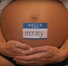 Maternity shoot idea. Cute way to introduce baby's name.
