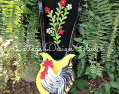 rooster farrmhouse painting picket fence by CottageDesignStudio