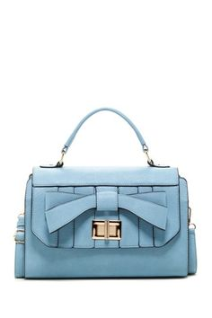 Madeline Satchel - light blue with a bow