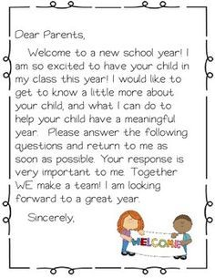FREEBIE Editable Welcome Letter Teach Pinterest School - Parent letter template
