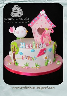 Cake toppers: birds and letters! : Cake toppers: birds and letters! Sweet Cakes, Cute Cakes, Fondant Cakes, Cupcake Cakes, Girly Cakes, Birthday Cake Girls, Birthday Cakes, Novelty Cakes, Occasion Cakes