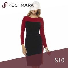 Chaps Dress This mid sleeve dress comes above the knee. Has a swoop detail on the waist. Neckline is very classy Chaps Dresses
