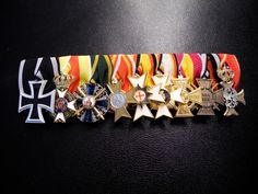 Medal bar of an WWI officer from Baden Military Decorations, Badges, Ribbons, Wwii, Flags, Awards, German, Symbols, Post War Era