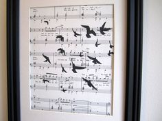 Flock of Blackbirds on sheet music by fireflynotes on Etsy