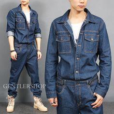 Blue Cotton Mid Rise Jeans for Men for sale Overalls Fashion, Mens Fashion Wear, Men's Fashion, Metal T Shirts, Mens Trousers Casual, Denim Jumpsuit, Jumpsuits, Blue Denim, Man Outfit
