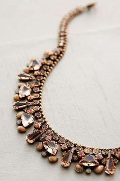 Sparkled Peche Bib Necklace - anthropologie.com
