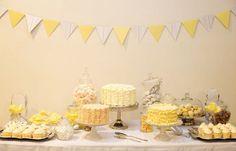 pale yellow, dessert buffet