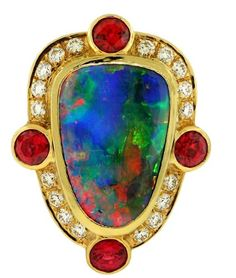 $23,030 : Crevoshay Opal, Spinel and Diamond Ring (Opal 6.84ct, Spinel 1.35ct, Diamond 0.53ct, 17.21 grams)