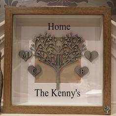 #shadowbox #Family #familytree #memoryboxframe #itslovelybydonna Memory Box Frame, Shadow Box Frames, Home Decor, Decoration Home, Room Decor, Interior Decorating