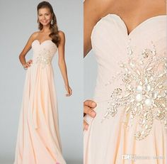 2015 Prom Dress Strapless Sweetheart Bridesmaid Dress With A Line Floor Length Pleat Crystal Beads Chiffon Lace Up Party Evening Dresses, $90.79 | DHgate.com