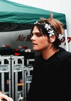 Gerard with a flower crown gives me life