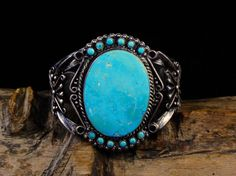 Vintage Old Pawn Fred Harvey Navajo Sterling Silver Cuff Bracelet w Brilliant Blue Gem Turquoise Stones! Vintage Turquoise Jewelry, Coral Jewelry, Turquoise Bracelet, Vintage Jewelry, Blue Gem, Navajo Jewelry, Sterling Silver Cuff Bracelet, Native American Jewelry, Turquoise Stone