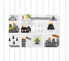 Monochrome Nursery Game Road Map City Rug Kids City Area