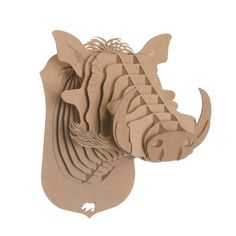 'winston warthog' wall mount from cardboard safari