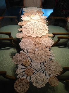 Another table runner or doily grouping