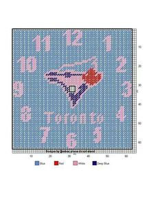 Toronto Blue jays clock Football Canvas, Toronto Blue Jays, Perler Patterns, General Crafts, I Cool, Plastic Canvas Patterns, Wall Canvas, Cross Stitch Embroidery, Needlepoint