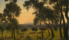 POLICE PADDOCK, MELBOURNE, 1855 by Eugene Von Guerard (detail)