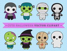 Premium Vector Clipart - Kawaii Spooky Halloween - Halloween monstruos imágenes prediseñadas - alta calidad - descarga inmediata - Kawaii Clipart de vectores