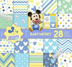 28 Baby Mickey Digital Paper Designs + Clip Art Extras - High Resoultion - Invitations, Decorations, Scrapbooking, Baby Mickey Mouse