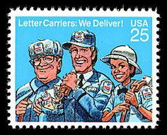 This Letter Carriers commemorative stamp honors the men and women, who carry America's mail to over 100 million delivery points. The stamp's dedication ceremony was held in conjunction with the centennial celebration of the National Association of Letter Carriers.