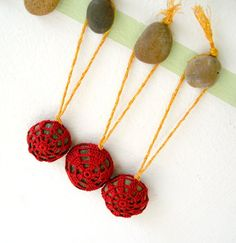 Crochet Lace Stone Ornaments  Set of 3  Hanging by MariaKonstantin, $18.00