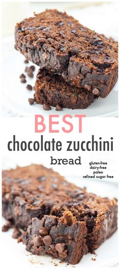 healthy living This chocolate zucchini bread is not only moist and fudgey, it's also full of nutrients! Make up a loaf for the ultimate snack or treat with benefits! Sugar Free Snacks, Dairy Free Snacks, Sugar Free Desserts, Sugar Free Recipes, Healthy Gluten Free Snacks, Lactose Free Desserts, Chocolate Paleo, Gluten Free Chocolate, Chocolate Chips