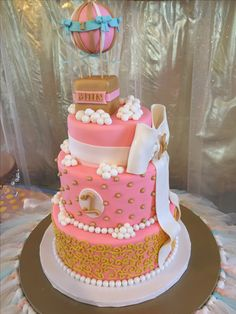 Pink and gold glittery first birthday cake hot air balloon with