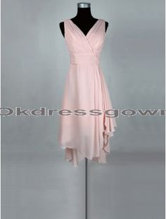 Knee Length V Neck Off Shoulder Chiffon Peach bridesmaid dress with Ruffle