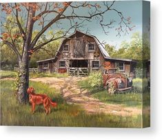 Rusty Canvas Print by Kerry Trout. All canvas prints are professionally printed, assembled, and shipped within 3 - 4 business days and delivered ready-to-hang on your wall. Choose from multiple print sizes, border colors, and canvas materials. Country Barns, Old Barns, Country Living, Farm Paintings, Landscape Paintings, Country Paintings, Naive, Barn Pictures, Canvas Art